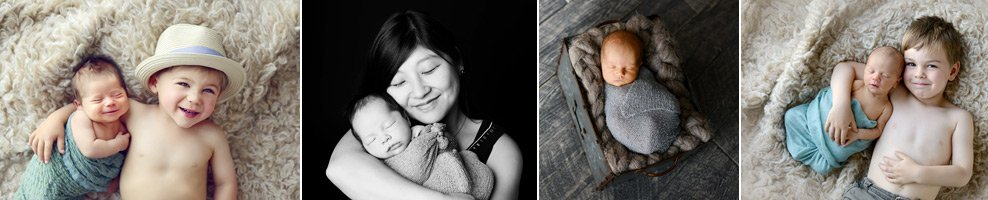 Denver newborn baby with siblings and mom photos by Christina Dooley Photography.