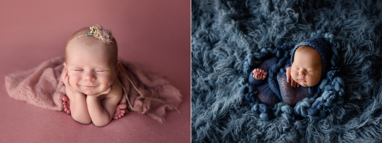 Baby Girl on Pink and Newborn Boy on blue