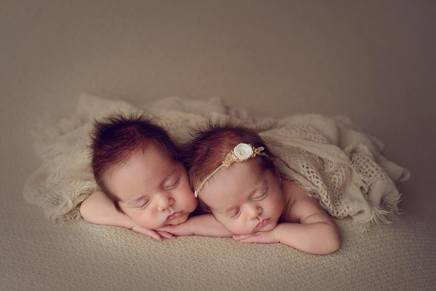 Newborn Twins photographed on natural tones in Denver