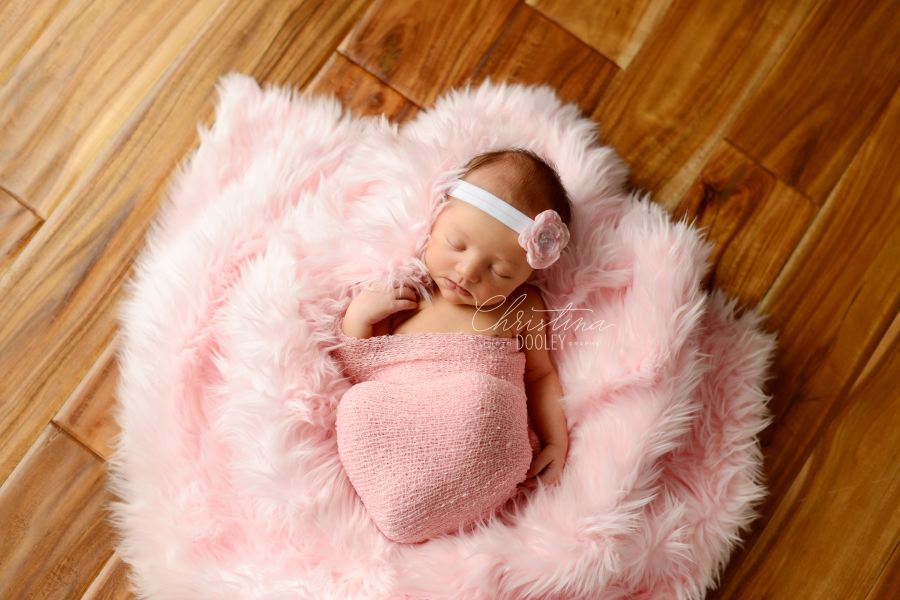 Newborn Portraits of baby girl sleeping in a cloud of pink.
