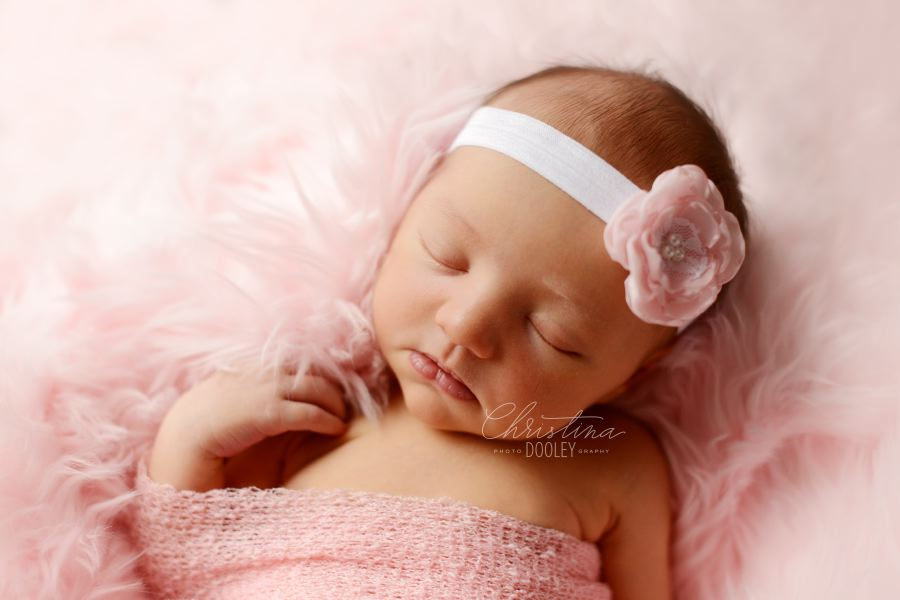 baby girl sleeping wrapped in pink fur in Denver Colorado newborn studio.