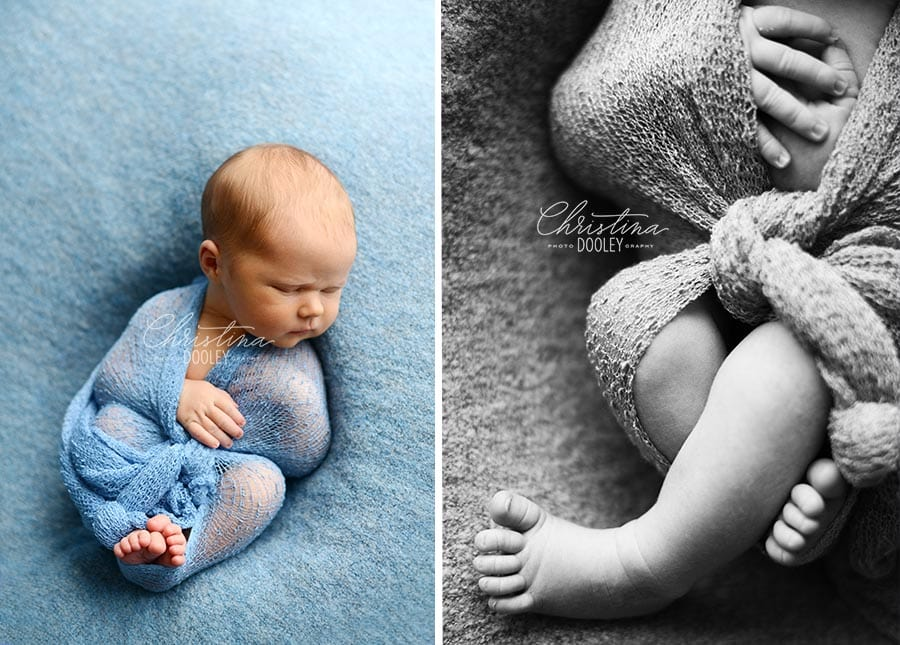 Newborn boy wrapped in blue and detail images of new baby feet and hands