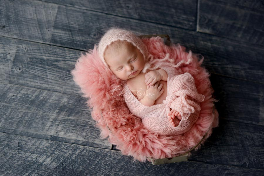 Baby girls wrapped in pink on our fur in a wire basket from JD Vintage Props posed on a gray floor