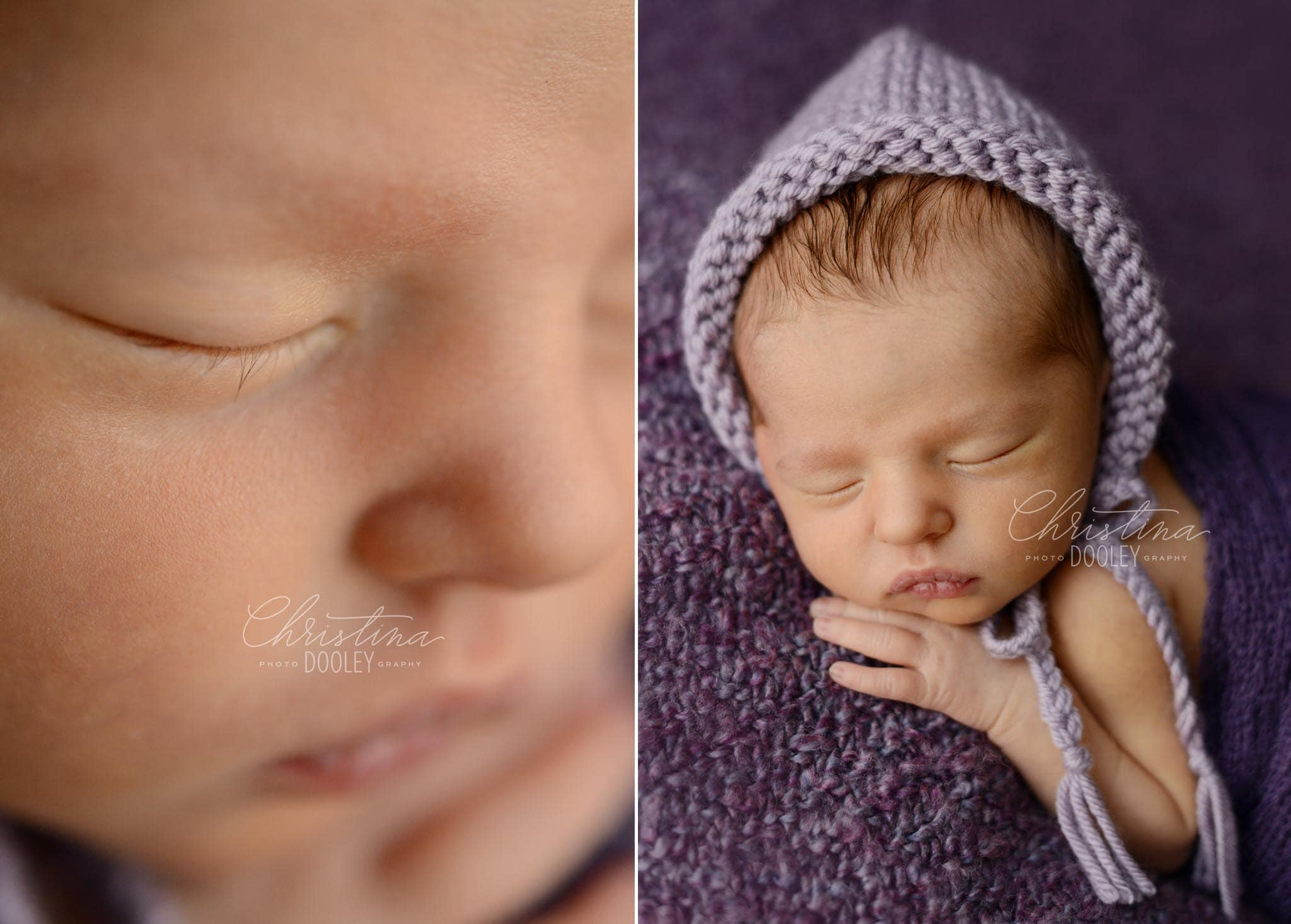 Newborn girl profile photo on knit blanket and baby close up of eyelashes