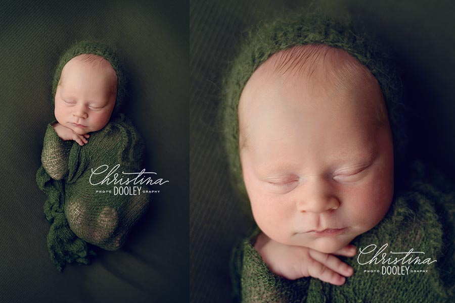 Two photos of newborn boy in a green bonnet one close up and one image pulled back to show him curled up and wrapped in a green.
