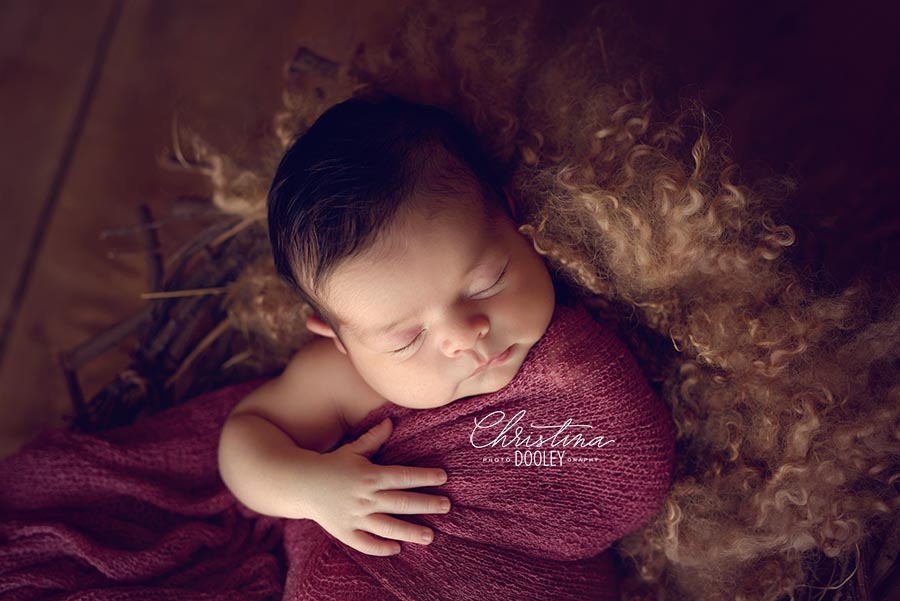 Close up photo of baby sleeping on brown curly fur in a twiggy nest
