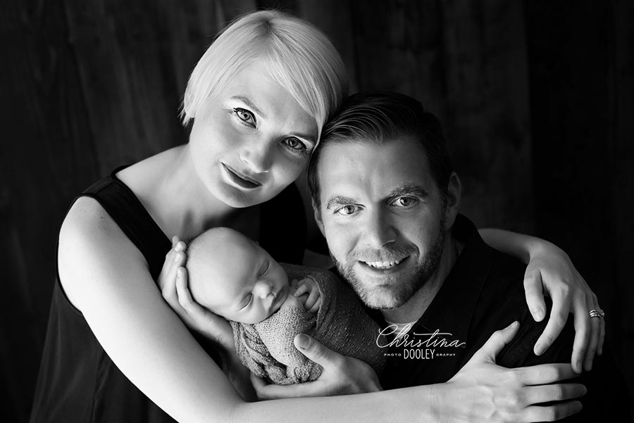 Black and White family photo with their new baby boy in Colorado
