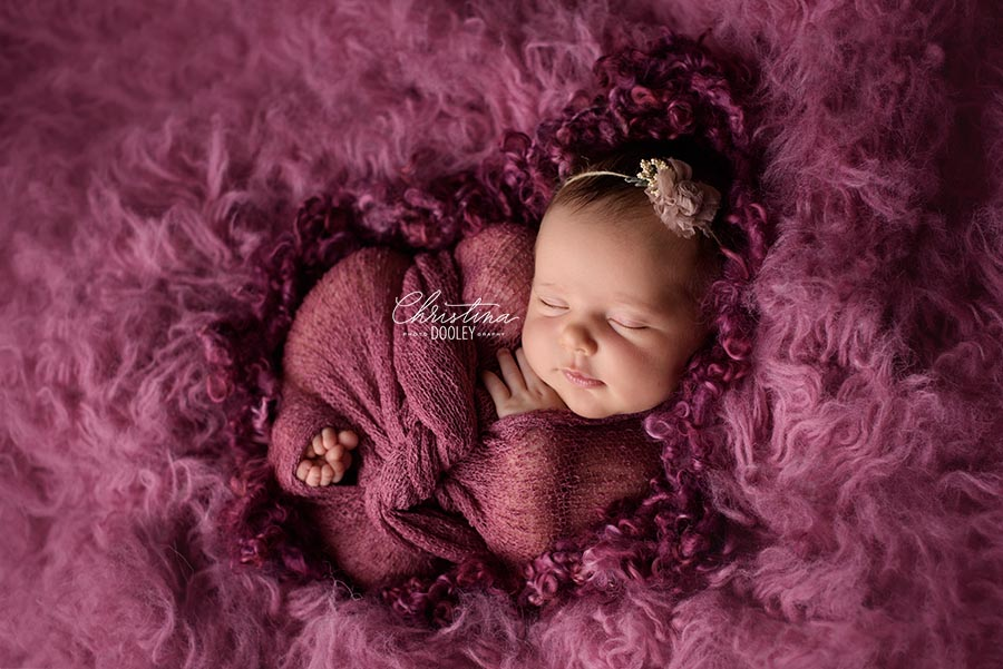 Portrait of a baby on a cloud of  color in a beautiful shade of raspberry
