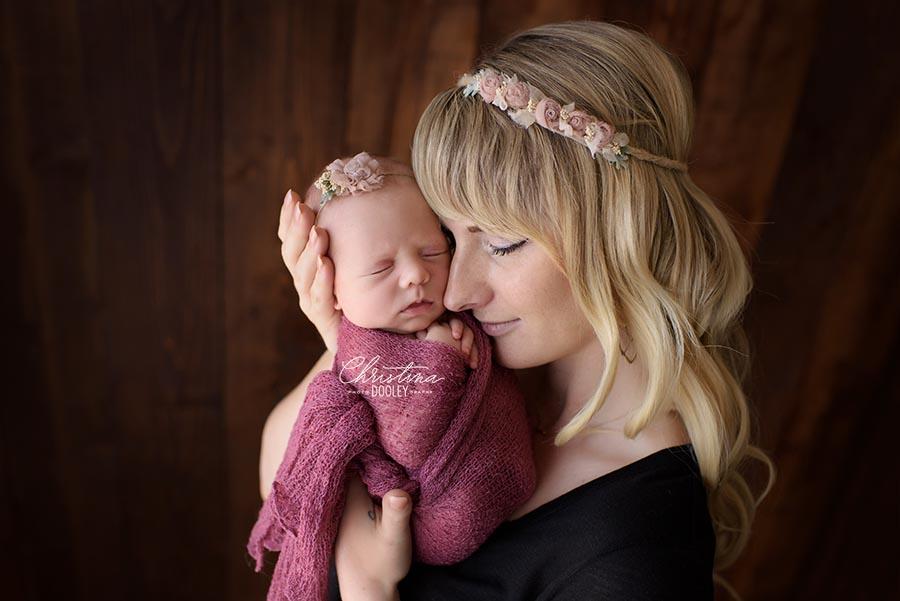 Momma and new baby photos both wearing rosebud headbands
