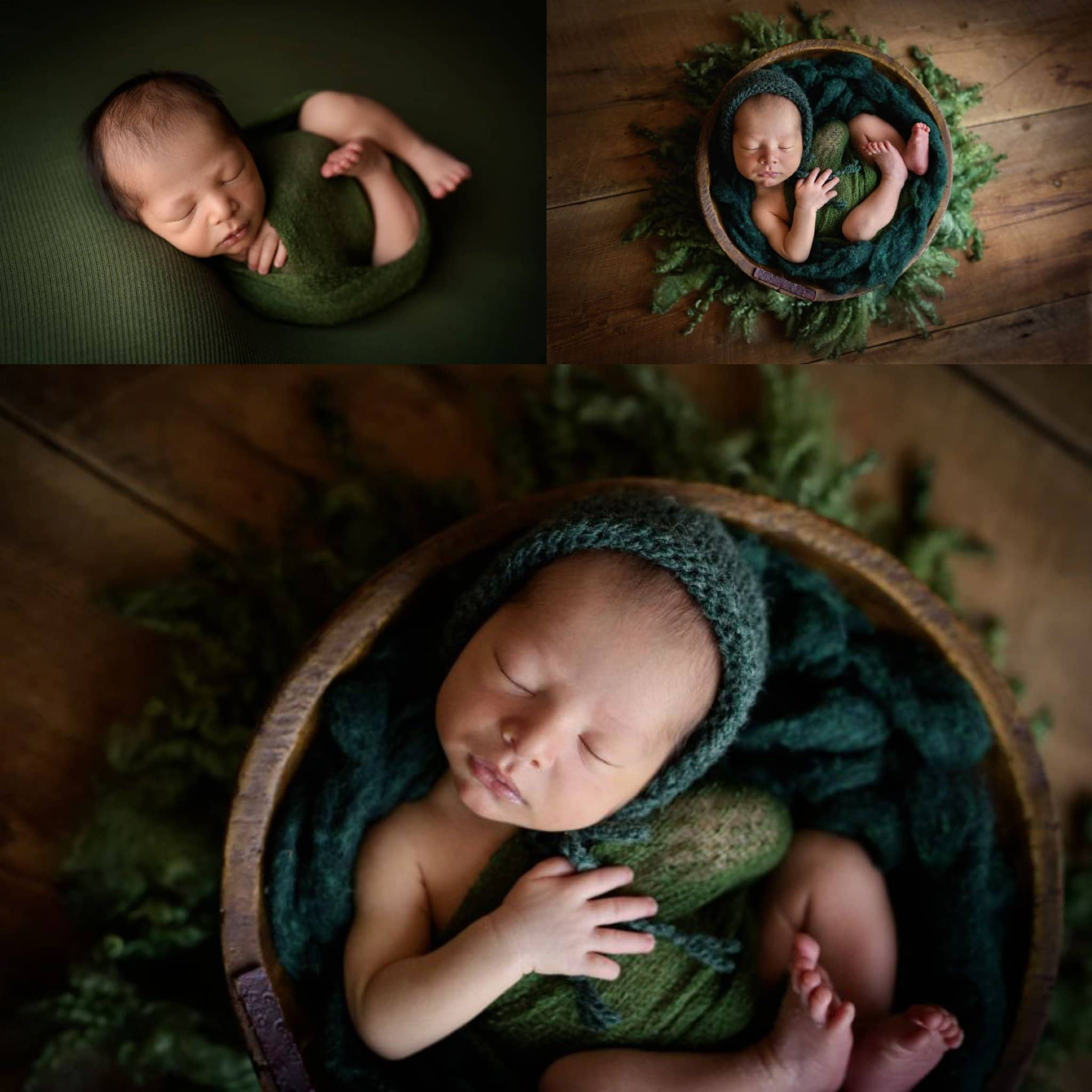 Newborn Photo Session with baby boy wrapped in green and posed in a wood bowl from JD Vintage Props.