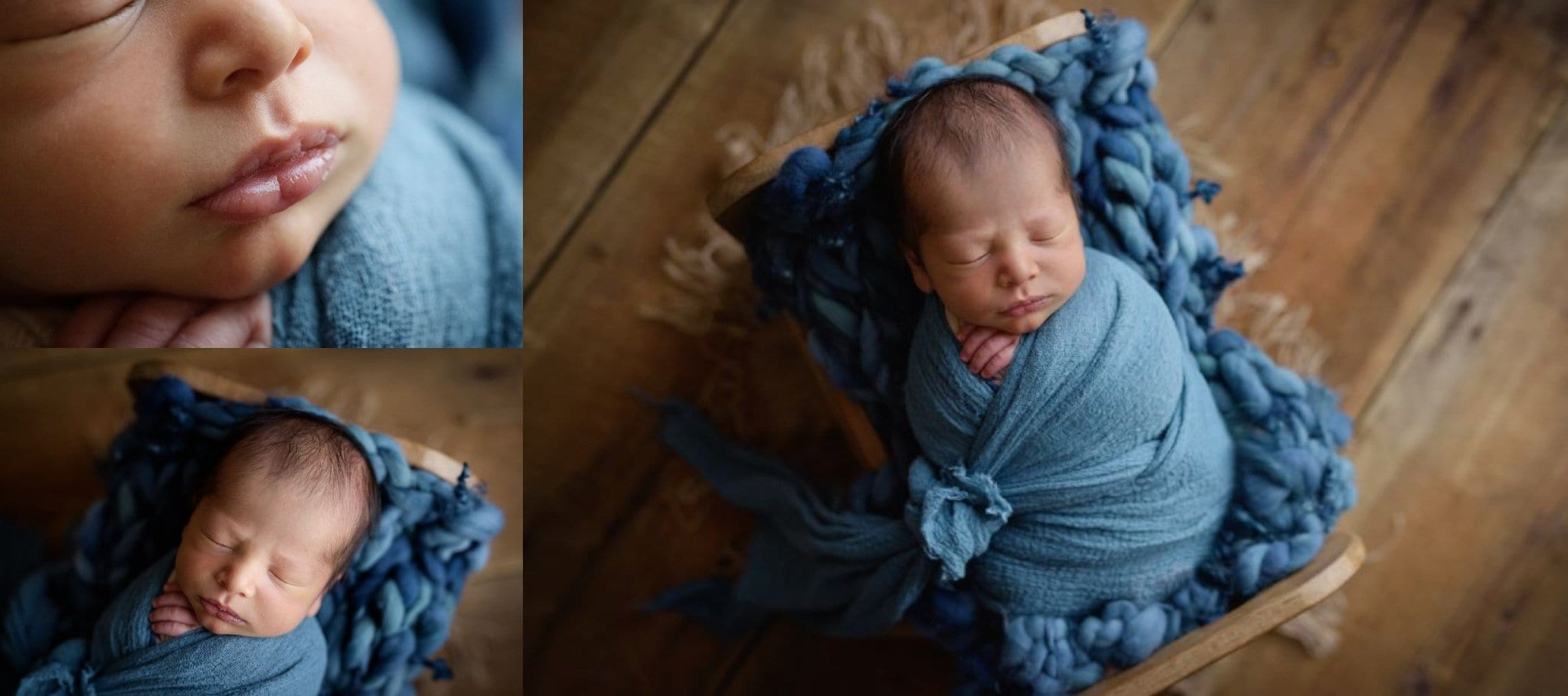 Baby in a tiny wood bed wrapped in a gorgeous bright blue wrap and blanket from Sunshine Baby Props.