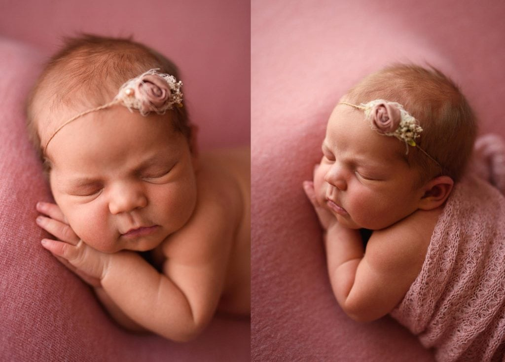 Newborn photos of baby girls profile and her baby cheeks.