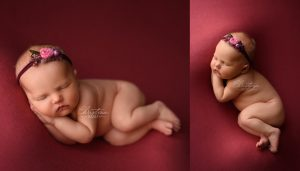 Newborn Photography of baby girl on red posed in the side lying pose and photographed in denver, colorado.